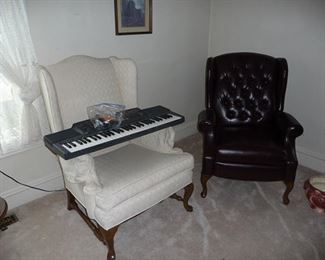 Wing Back Chairs and Key Board