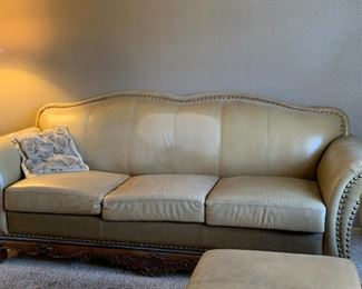Leather / Wood Couch, Love Seat & Chair / Ottoman
