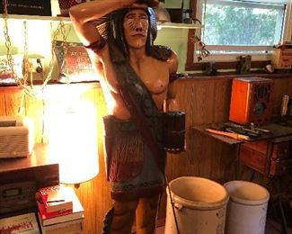 Cigar Store Indian 5' 5 approximately solid wood