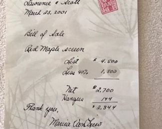 receipt for large Asian Silk Screen