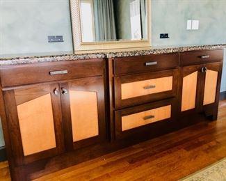 Custom-made granite top buffet and burl wood and metal hardware