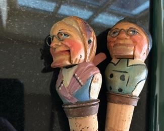 Wood carved figurine cork stoppers