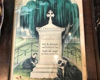 Victorian mourning prints, Currier and Ives.