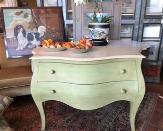 Faux painted chest with marble top.