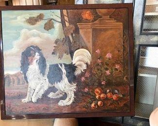 American folk art spaniel oil painting.