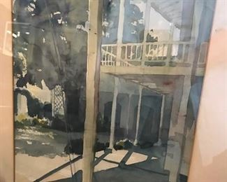 Brad Braune original watercolor. San Antonio  Crafts Center?. 10 X 14 as seen in mat.