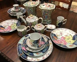 Mottahedeh Tobacco Leaf - service for 2. Pieces priced individually. Pr. Famille Rose vases (SOLD). Included are 2 hot plates that water can be poured in -to keep your meal warm. Unusual pieces- hard to find.