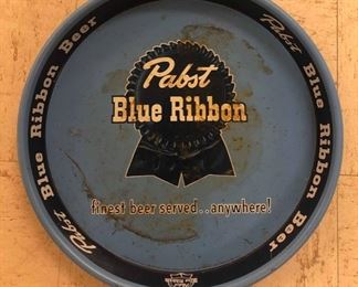 Pabst Blue Ribbon Advertising Beer Tray, Vintage, Metal