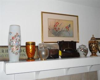 tall vase made in Peru, wooden vase from USSR, Brahmin purse, Coach purse, framed art, etc.