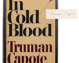 Capote, Truman. In Cold Blood. New York: Random House, 1965. First edition, first printing. Maroon cloth with gilt titles, unclipped dust-jacket. Signed on the half-title. 8vo. Small tears at edges of jacket, otherwise fine.