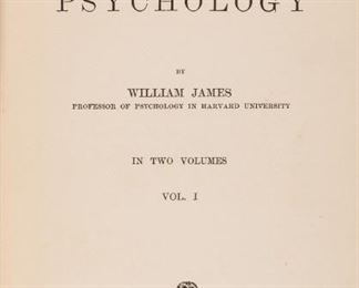 "James, William. The Principles of Psychology. New York: Henry Holt, 1890. Two volumes, first edition, first state, 3pp ALS from James to previous owner tipped-in to vol. I and dated Dec. 16, 1890. Original dark olive cloth ruled in blind, spine titled in gold, brown endpapers. Numerous tables and diagrams in both volumes. All points for first state present (hyphenated ""Psychology"" on page opposite title of each volume and the inclusion of misprints on p. 10, vol. I and p. 101 vol. II according to the Harvard definitive edition of 1981). 8vo. xxi, [1]-689; vi, [1]-704, 8 pp. ads. Hinges cracked with mild rubbing to extremities, light penciling throughout, bookplates of James G. Croswell; the owner the ALS is addressed to. In it, James responds to Crosswell's favorable review of this work. William James is considered the founder of modern American psychology because of his monumental work 'The Principles of Psychology' that influenced experimental psychology and introduced the term and c"