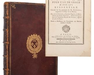 [Royal Binding] Pingré, Alexandre Guy. Etat du Ciel, Pour L'An de Grace.Bissextile. Calculé sur les principes de M. Newton, rapporté à l'usage de la Marine. Paris: Durand et Pissot, 1756. Volume three of a nautical almanac titled Etat de Ciel, first edition, contemporary full grain maroon morocco, ruled thrice in gilt with the royal arms of Louis Philippe I Duke of Orleans and First Prince of the Blood (1725-1785) centered on both boards in gilt, decoratively tooled spine in gilt with floral shapes in 6 compartments and raised bands, titled in blind, a.e.g., marbled endpapers. 8vo. Completely illustrated with Moon tables based on the work of le Monnier and a woodblock vignette of Saturn. Folding map in rear of the Hyades star cluster from the observations made by M. de Seligny, an officer and astronomer in the East India Company; titled Carte des Hyades Etoiles dela Constellation du Taureau. Corners and joints rubbed, closed tear to top margins affecting p. 1-46, light soiling to title