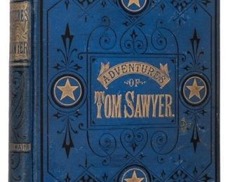 Twain, Mark. The Adventures of Tom Sawyer. Hartford, CT: The American Publishing Company, 1876. First American edition, second printing, issue B. Original blue cloth decoratively stamped in black and gilt. Frontispiece on verso of half title, printed on wove paper. Profusely illustrated. 8vo. [i]-xvi, [17]-275, 4 pp. ads. Light rubbing to corners and edges with slight frayed spine ends, spotting to boards, minor soiling at margins, contemporary owner's inscription to ffep. BAL 3369, Johnson pp. 27-30.