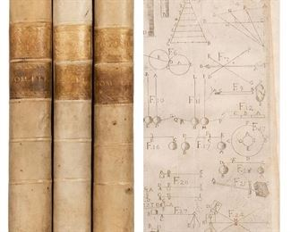 Lana Terzi, Francesco. Magisterium naturae, et artis. Opus physico-mathematicum. Brescia: Giovanni Maria Ricciardi, 1684/1692 (volume III: Parma: Ippolito Rosation, 1692). 3 volume set in contemporary full vellum with two darkened vellum spine labels gilt decorated and lettered in compartments, speckled edges. Illustrated with woodcut vignette on title-pages, woodcut initials, head and tail pieces, 61 out-of-text copper engraved and hand drawn plates inserted in rear. [16], 526, 24 plates; [34], 512, [18], + 20 plates; 6 hand drawn in contemporary facsimile; [8], 571, 23, [1], + 13 plates; 2 hand drawn in contemporary facsimile. Folios. Corners gently bumped, general soiling to boards, 18th century bookplates of Thomae Vargas Macciucca, toning to endpapers, light worming to vol. II bastard title, otherwise a clean and tight set. Very scarce. Rarely seen with the third volume, this monumental encyclopedic work of the physical sciences and natural philosophies was written by the founder
