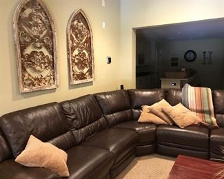 Leather zero recline sectional with 3 electric recliners
