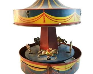 Lot 801 1930's Wolverine Carousel Merry-Go-Round Horses Tin Litho Lever Racehorse Game