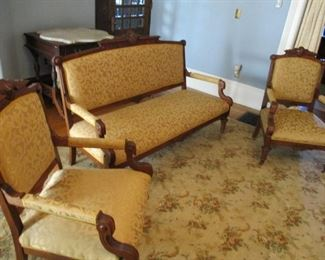 3-Piece Antique Victorian Parlor Settee, Walnut.  Recently re-upholstered.