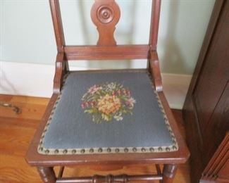 Antique Walnut Side Chairs with needlepoint seats.  Set of 6.  Some need repair.