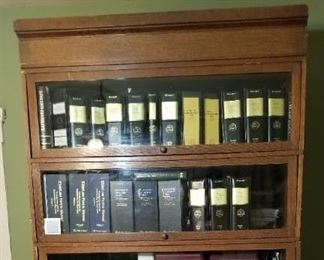 "Barrister Bookcase Oak; 93"" tall, 49"" wide, 25 1/2"" deep."