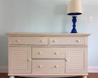 Dresser; cobalt lamp