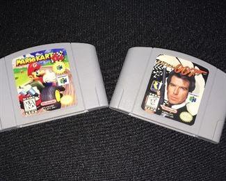 Nintendo 64 games:  Mario Kart 64; Golden Eye 007