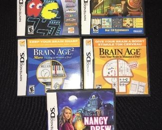 Nintendo DS games:  Namco Museum DS; Professor Layton Diabolical Box; Brain Age 2; Brain Age; and Nancy Drew The Hidden Staircase
