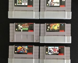 Nintendo games:  Madden '94; Madden '97; MLB; Earth Worm Jim 2; NCAA Basketball; Stanley Cup