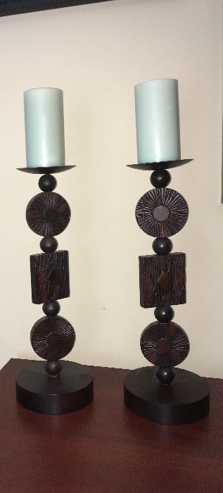 Pillar candle holders and candles