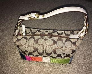 Coach leather & canvas shoulder purse
