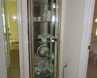 Two Black Display Cabinets With Gold Trim, Inside Top Lights And Glass Side Doors.  $150.00 Each