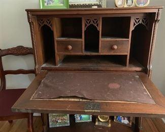 Walnut or Cherry antique dropdown desk.