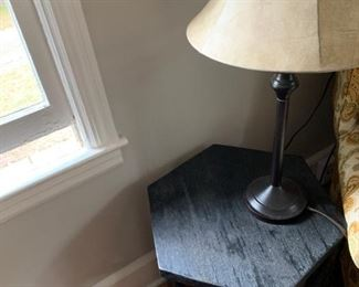 Side table and metal lamp.