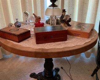 Round butcher block table with cast iron base