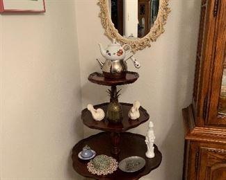 Three tier antique shelf