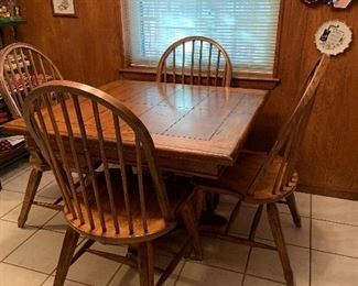Wooden kitchen table, one leaf, 4 chairs