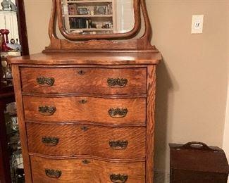 Serpentine tiger oak dresser with mirror