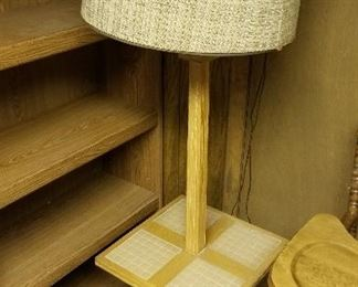 Vintage oak and tile end table lamp....presale available