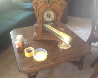 Cocktail table and antique clock
