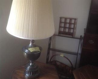 Lamp and wall shelving