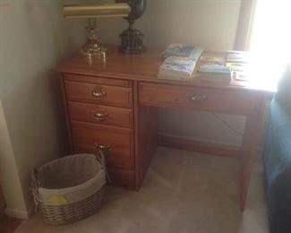 Desk, baskets, lamps