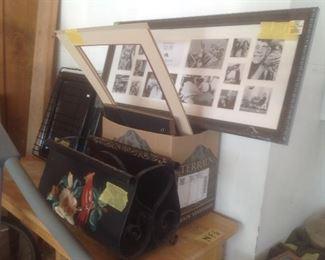 Vintage tin magazine rack, picture frames