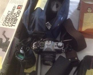 Canon AE -1 plus 2 lens and camera bag