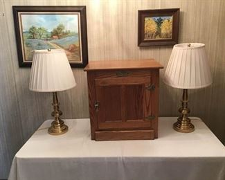 Side Table and Lamps