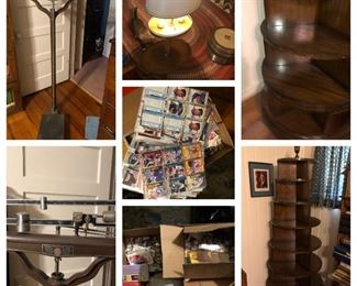 Maitland smith bookshelf $400. Doctors scale $175. Box of baseball/ football/ hockey cards $75. Cards are from the 90s.