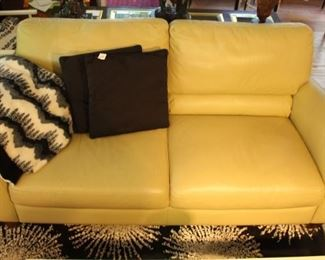 Leather sofa.  Color of the sofa actually has some green to it.