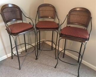 Solid Iron Stools (caned back and seat)