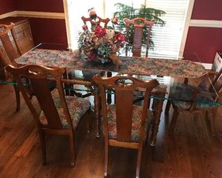 Unique Vintage Belgium Glass Table (Hickory Mfg Co) 82x44 - 1/2 Glass