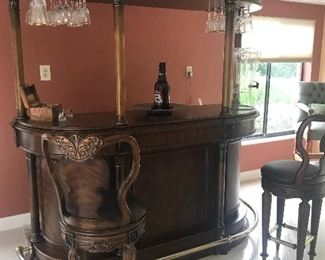 Bar unit and two Bar Chairs. Solid wood Beautiful and in excellent condition. Drawers in back of B