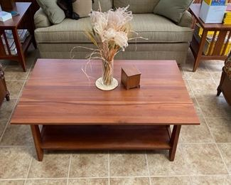 Again Ethan Allen cocktail table, mlssion style end tables