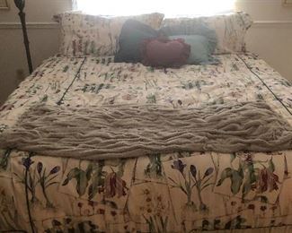 King size mattress, frame, bedding (all sold separately). Matching shower curtain  as well